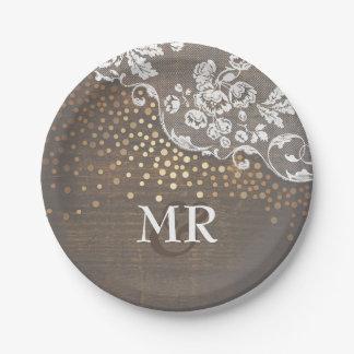 Gold Confetti Wood Lace Wedding Monogram Paper Plate