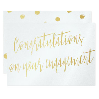 "Gold ""Congratulations on your engagement"" Card"