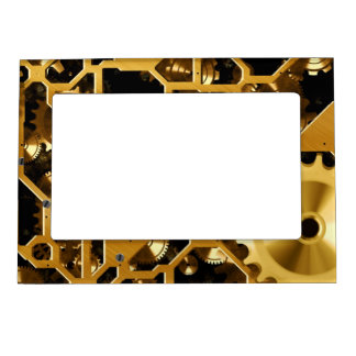 Gold Copper and Brown Cogs, Gears Magnetic Picture Frame