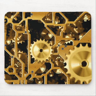 Gold Copper and Brown Cogs, Gears Mouse Pad