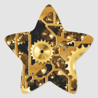 Gold Copper and Brown Cogs, Gears Star Sticker