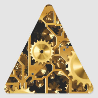 Gold Copper and Brown Cogs, Gears Triangle Sticker