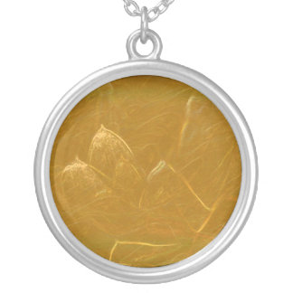 Gold Copper Embossed Waves Lotus Leaf Silver Plated Necklace