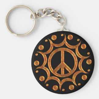 GOLD & COPPER PEACE SIGN SUN BASIC ROUND BUTTON KEYCHAIN