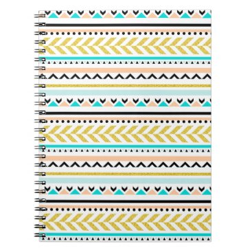Aztec Themed Gold, Coral, White, Aqua, Black Aztec Pattern Notebook