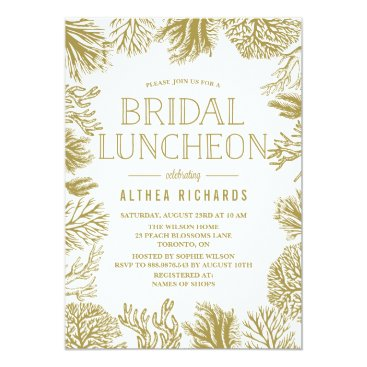 Beach Themed Gold Corals Frame Beach Bridal Luncheon Card