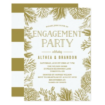 Beach Themed Gold Corals Frame Beach Engagement Party Card
