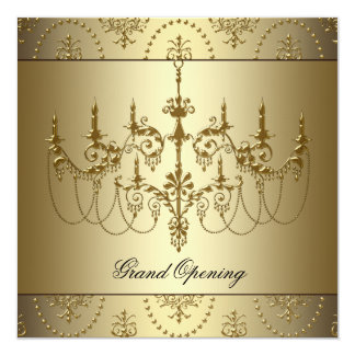 Gold Corporate Business Grand Opening Party Card