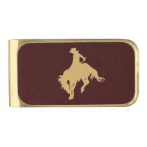 Gold Cowboy Bucking Horse Gold Finish Money Clip