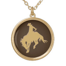 Gold Cowboy Bucking Horse Gold Plated Necklace