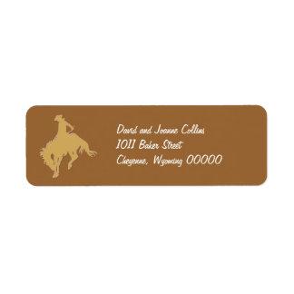 Gold Cowboy Bucking Horse Label