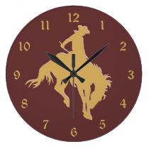 Gold Cowboy Bucking Horse Large Clock