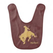 Gold Cowboy Bucking Horse Personalized Bib