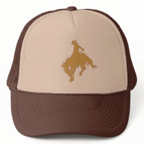 Gold Cowboy Bucking Horse Trucker Hat