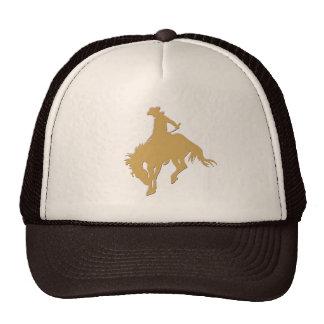 Gold Cowboy Bucking Horse Trucker Hat