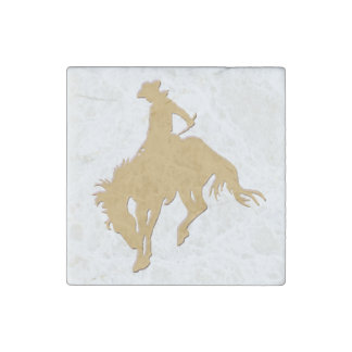 Gold Cowboy Bucking Horse White Stone Magnet