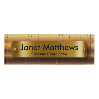 Gold Crackle Pattern with Gold Label Plate Name Tag