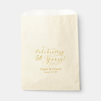 Gold Cream 50 Years 50th Wedding Anniversary Favor Bag