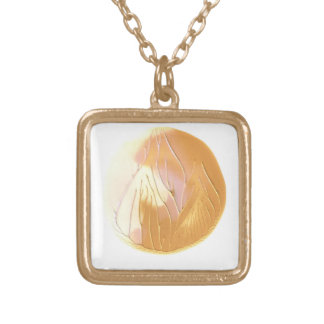 Gold, Cream and Pink Painted Moon Necklace