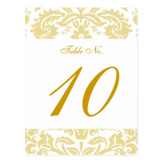 Gold Cream Damask Wedding Table Card Post Cards