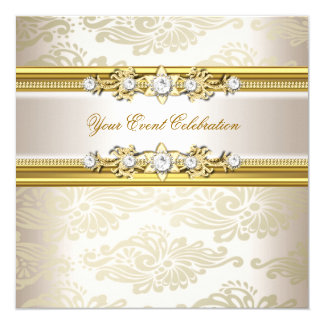 Gold Cream Embossed Look Elegant Party Invitation