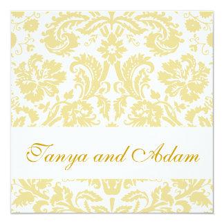 Gold, Cream Floral Damask Pattern Wedding Invite