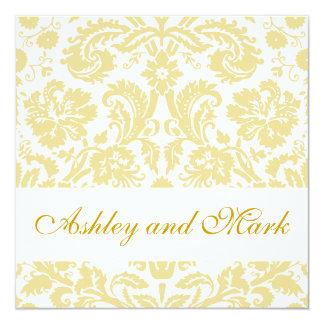 Gold Cream Floral Damask Wedding Invitation