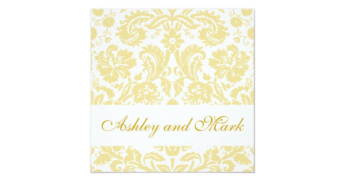 Cream And Gold Wedding Invitations: Gold Cream Floral Damask Wedding Invitation