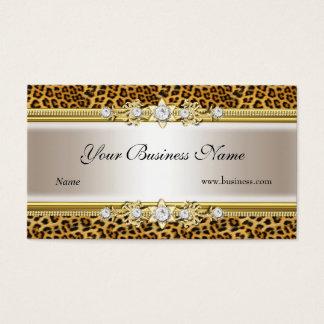 Gold Cream Leopard Black Jewel Look Image Business Card