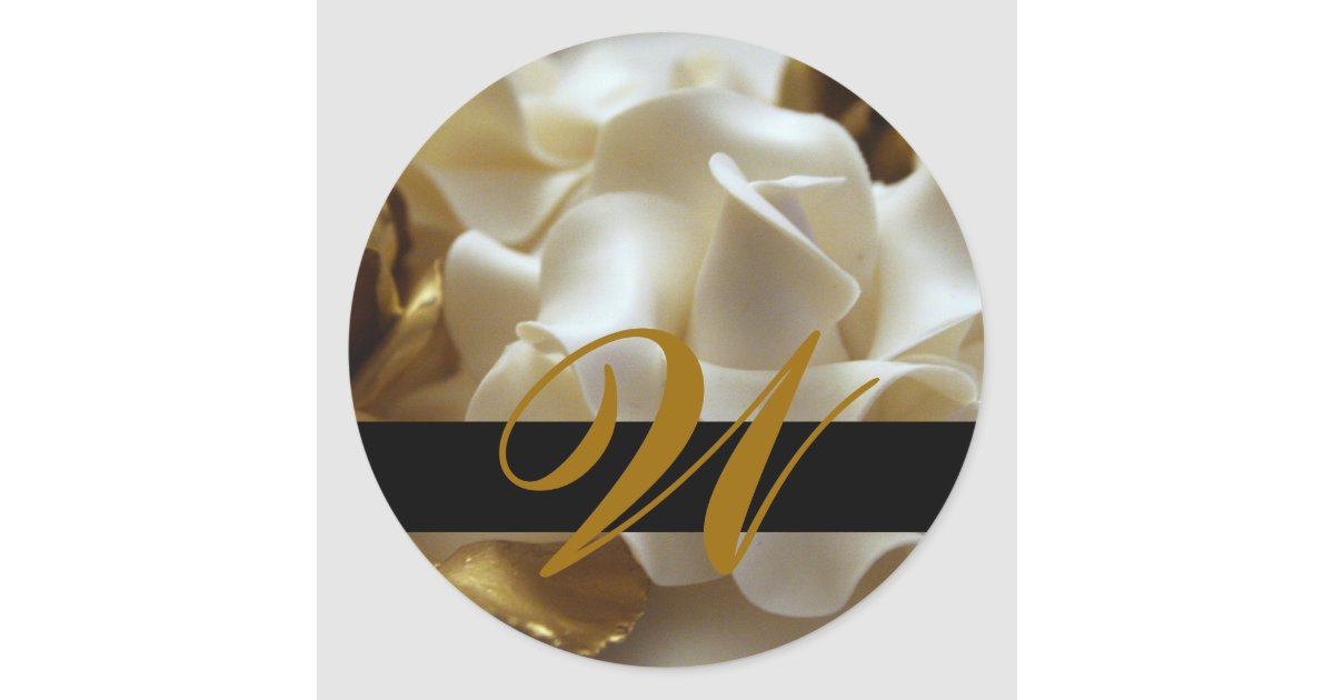 gold cream rose monogram wedding stickers zazzle
