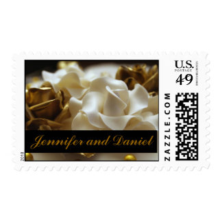 Gold Cream Rose Wedding Personalized Postage Stamp