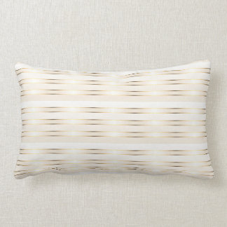 Gold Cream Stripes Pattern Lumbar Pillow