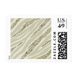 Gold Cream Zebra Print Glitter Stamp