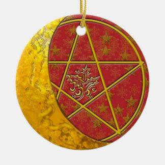 Gold Crescent Moon & Pentacle #10 Ceramic Ornament