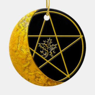 Gold Crescent Moon & Pentacle #11 Ceramic Ornament