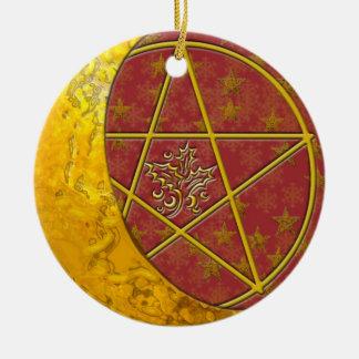Gold Crescent Moon & Pentacle #1 Ceramic Ornament