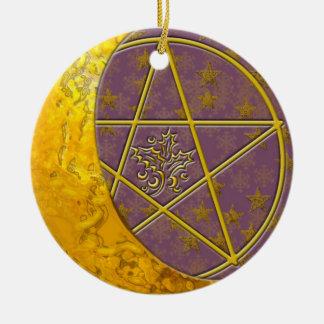 Gold Crescent Moon & Pentacle #2 Ceramic Ornament