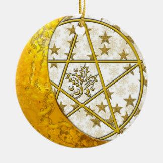 Gold Crescent Moon & Pentacle #3 Ceramic Ornament