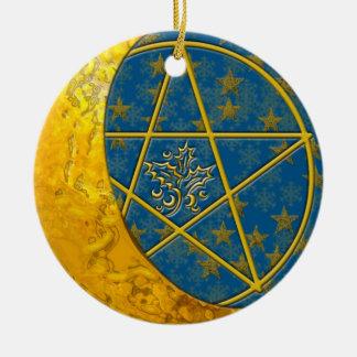 Gold Crescent Moon & Pentacle #4 Ceramic Ornament