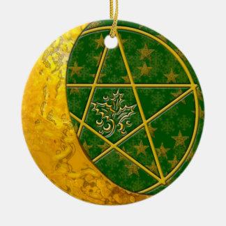 Gold Crescent Moon & Pentacle #5 Ceramic Ornament