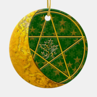 Gold Crescent Moon & Pentacle #5 Double-Sided Ceramic Round Christmas Ornament