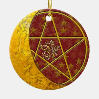 Gold Crescent Moon & Pentacle #6 Ceramic Ornament