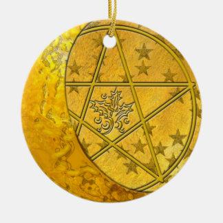Gold Crescent Moon & Pentacle #7 Ceramic Ornament