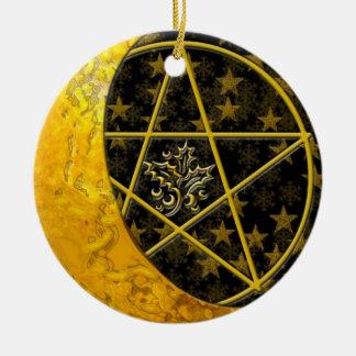 Gold Crescent Moon & Pentacle #8 Ceramic Ornament