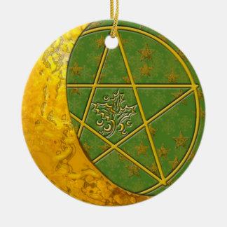 Gold Crescent Moon & Pentacle #9 Ceramic Ornament