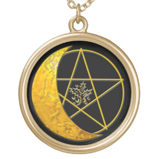 Gold Crescent Moon & Pentacle Necklace - 1