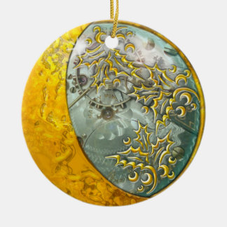 Gold Crescent Moon & Steampunk #2 Double-Sided Ceramic Round Christmas Ornament