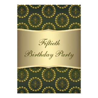 Gold Crest Emerald Womans 50th Birthday Party Personalized Invitations