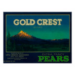 Gold Crest Pear Crate LabelHood River, OR Poster