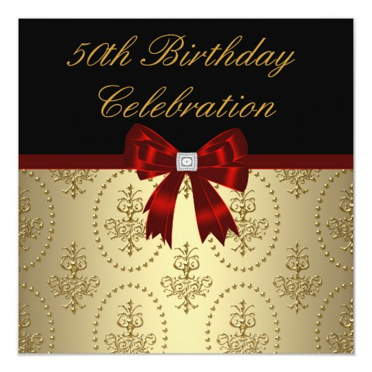 Gold Crest Red Bow Womans Elegant 50th Birthday Card